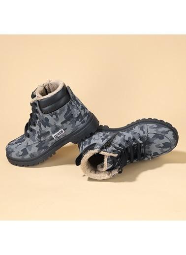 Ayakland Ayakland Extrem 01 Kamuflaj Kürklü Erkek Çocuk Bot Ayakkabı Siyah
